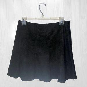 bcbg maxazria suede circle skirt black